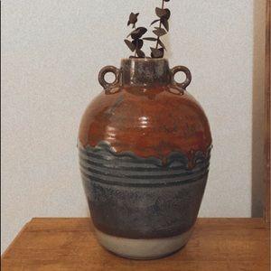 BOHEMIAN pottery vase handmade dipped ceramic boho